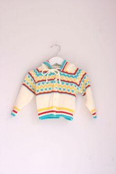Vintage infant cardigan 6 to 12 months striped by fuzzymama