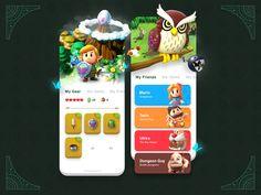 Link's Awakening Game App UI by Nicky Bozic Ux Design, Game Design, Flat Design, Hq Trivia, Online Video Games, Guy, Game Title, Fps Games, Ui Design