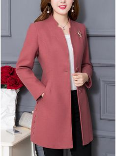 Polyester Long Sleeves Plain Down Coats - Coats - veryvoga Blazer Fashion, Hijab Fashion, Fashion Dresses, Silvester Outfit, Girl Sleeves, Jacket Pattern, Coat Dress, Clubwear, Clothes