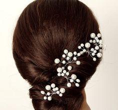 Four pieces Bridal Pearl Hair Pin, Wedding Hair Accessories, Bridal Headpiece, Bridal hair Pin with glass crystals, Bridal Headpieces