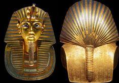 Máscara funeraria de Tutankamón, R.Nuevo, Din XVIII. Museo Egipcio de El Cairo. Esta máscara cubria el rostro de la momia de faraón. reproduce sus rasgos de manera idealizada. La máscara está realizada en oro macizo, piedras semipreciosas y pasta vítrea. La máscara está tocada con el nemes acabado en la típica coleta y uraeus, y barba postiza.