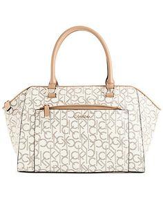 Calvin Klein Hudson Patent Monogram Satchel - All Handbags - Handbags & Accessories - Macy's