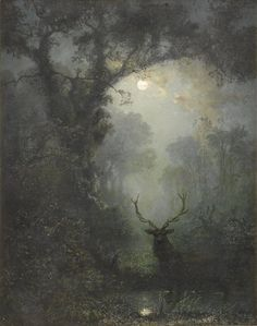 "Eugen Krüger (German, ""Hirsch im Wald/Deer in the Forest"" Oil on canvas Dark Forest, Nocturne, Faeries, Dark Art, Painting & Drawing, Fantasy Art, Illustration Art, Fine Art, Drawings"
