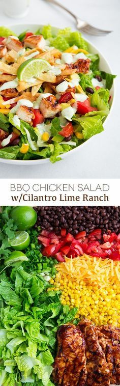 BBQ Chicken Salad wi BBQ Chicken Salad with Cilantro Lime Ranch - this salad is amazing! http://ift.tt/2ijNwFF