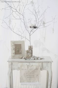 spray painting branches white