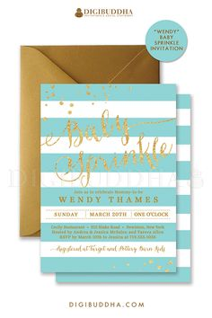 Aqua and white stripes Baby Sprinkle invitation with gold glitter, turquoise details and confetti sprinkles in the corners. Choose from ready made printed invitations with envelopes or printable baby shower invitations. Gold shimmer envelopes also available. digibuddha.com