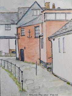Line & wash, James Powell. Sammy Hake's Cottage, Watchet, Somerset. 2015.