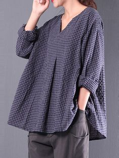 Only US$19.99 shop s-5xl retro plaid loose casual blouses at Banggood.com. Buy fashion blouses online. - Banggood Mobile