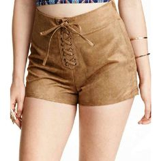 Pocahontas Shorts (59 AUD) ❤ liked on Polyvore featuring shorts, brown, suede shorts and brown shorts