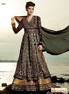 Gorgeous Black Zari Work Faux Georgette Anarkali Wedding Suit