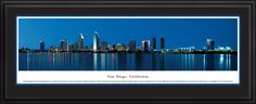 San Diego Skyline Panoramic Picture Framed, California