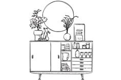 Interior element by on Creative Market Drawing Interior, Interior Design Sketches, Sketch Design, Drawing Sketches, Art Drawings, Drawing Furniture, Colouring Pages, Designs To Draw, Doodle Art