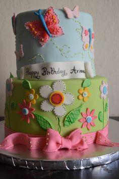 First birthday garden cake