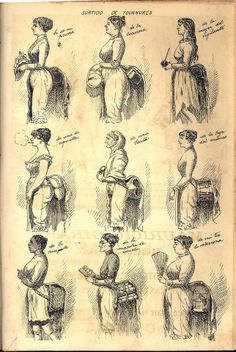 1886 fashion caricature in El Mosquito Magazine, Argentina.    bustles https://www.pinterest.com/registeredregis/bustles/
