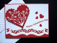 Handmade Valentine Card Kit (5) Scalloped Heart with Flourish