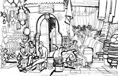 lucinda rogers marrakech black and white drawing pen ink souk market