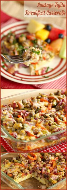 Sausage Fajita Breakfast Casserole - With the festive red and green peppers, this easy recipe is just right for your holiday breakfast or brunch!