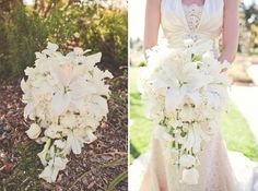 But smaller ~ white lily and rose teardrop bouquet- love this shape! // photo by Lindsey Gomes Cascading Bridal Bouquets, Cascade Bouquet, Wedding Bouquets, Plan My Wedding, Wedding Planning, Dream Wedding, Wedding Day, Lily Wedding, White Wedding Flowers
