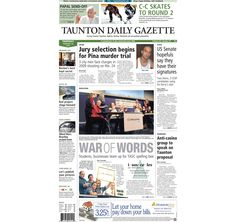 The #frontpage of the Taunton Daily Gazette for Thursday, Feb. 28, 2013. #TauntonMA