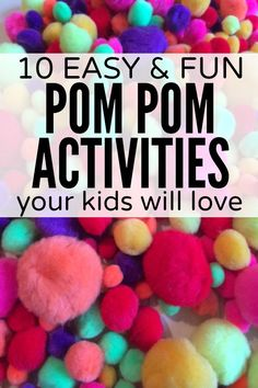 If your child likes playing with pom poms as much as my daughter does, and you& looking for fun and easy ways to keep her entertained, you will love this collection of pom pom activities for kids! Sensory Activities, Craft Activities For Kids, Projects For Kids, Learning Activities, Preschool Activities, Therapy Activities, Project Ideas, Craft Ideas, Pom Pom Crafts