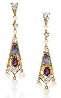 Masriera Amethyst & Enamel Earrings. Photo courtesy Cellini Jewelers  18-karat yellow gold with transluscent plique-à-jour enamel, oval-shaped amethysts, pearls and and diamond accents. by dianecambi