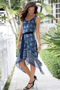 Border Print Dress: Classic Women's Clothing from #ChadwicksofBoston $59.99
