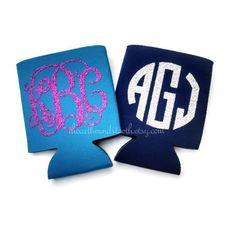 $5.50. Glitter Monogram Koozie, Custom Monogram, Personalized Koozies, Monogrammed Gifts