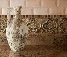 Tuscan Palazzo. Love this Italian style backsplash!! Kitchen remodel ideas.