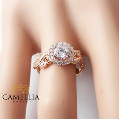 White Sapphire Engagement Ring-Rose Gold by CamelliaJewelry