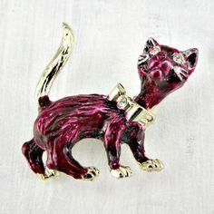 Vintage Purple Cat Brooch, HALLOWEEN Brooch Pin, Enamel Cat Brooch, Gold Cat Brooch Pin, Rhinestone Eyes, 1950s Halloween Costume Jewelry