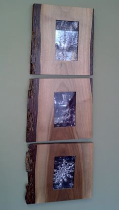 We make these beautiful three frame sets from locally salvaged walnut and cherry logs following the natural flow of the wood. They are designed for 4x6 and 5x7 pictures. Complete with glass and mounting hardware and sealed with a clear finish. Overall dimensions ~11x10x3/4. Other sizes/species/configurations available, please start a conversation for any ideas you may have.