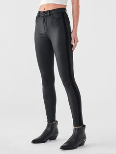 Farrow Ankle High Rise Skinny | Stein – DL1961 Sustainable Clothing, Slow Fashion, Ankle Length, Perfect Fit, Leather Pants, Black Jeans, Skinny, Legs, Cotton