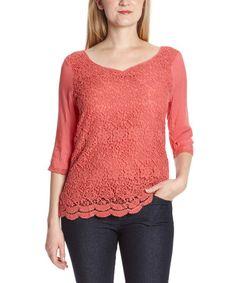 Coral Crochet Scoop Neck Top