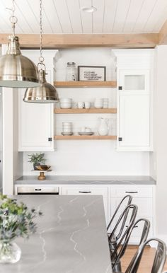 A smart alternative to concrete, these gorgeous gray quartz countertops from Cambria can suit any kitchen style, bathroom design, and more. Small White Kitchens, Grey Kitchens, Modern Farmhouse Kitchens, Home Kitchens, Farmhouse Design, Gray Quartz Countertops, White Cabinets White Countertops, Concrete Kitchen Countertops, Granite
