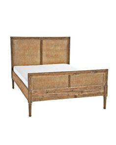 Brown Wooden Frame Cane Bed