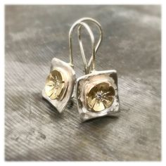 Excited to share the latest addition to my #etsy shop: Hammered silver Earrings, Flower earrings, Square Earrings, silver and gold earrings, everyday jewelry, Geometric silver Earrings #jewelry #earrings #geometric #white #zircon #women #earwire #artdeco #silver