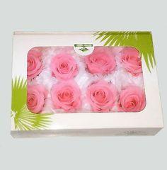Caja de rosas preservadas color de rosa