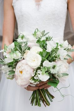 Romantic Bouquet with Peonies & David Austin Roses | Bride in Ingrida Bridal Gown | Beautiful Classic Wedding at Cornwell Manor | Lucy Davenport Photography