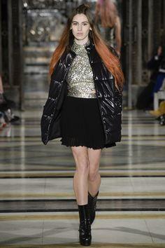 Black Leather Jacket, Silver Disc Top and Black Short Skirt by Felder Felder, Look #9