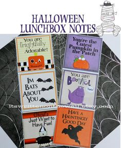 Put a smile on your kid's faces with these Halloween lunchbox notes. 24 in the collection. It's so easy to slip it into their lunchbox. You can write a personal note on the back if you like. #Crafts