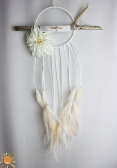 White Dream Catcher with Driftwood, Selenite, Pink Lumerian Seed Quartz, a Large Flower, and White & Peach Feathers
