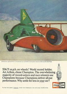Jet Car / Champion Spark Plugs Original 1965 Vintage Ad w/ Photo of Art Arfons' Green Monster / Land Speed Monster / Bonneville Salt Flat