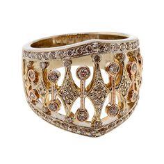 Parviz Wide White Yellow Pink Gold Diamond Band Ring