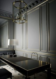THE most beautiful detail. Gray painted walls with thin gold mouldings. Spectacular.