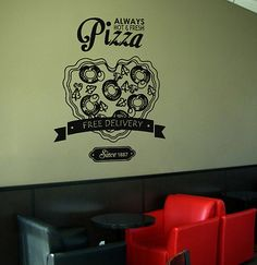 kik1047 Wall Decal Sticker Pizza heart delivery Italian Restaurant Pizzeria