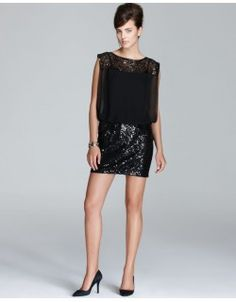 Stunning Black Sequined dress with Sheer Top that you can use as a Formal dresss, Party Dress or as a Cocktail dress . The dress has a sequin neck line and comes in size Black Sequin Dress, Black Sequins, Sequin Top, Lace Skirt, Sequin Skirt, Lace Chiffon, Designer Dresses, Designer Clothing