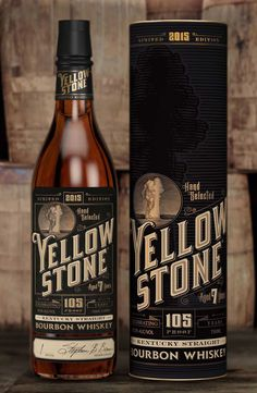 David Cole, Steven Noble - Yellowstone Bourbon Whiskey — World Packaging Design Society│Home of Packaging Design│Branding│Brand Design│CPG Design│FMCG Design Bourbon Whiskey, Whiskey Label, Whiskey Brands, Scotch Whiskey, Beverage Packaging, Bottle Packaging, Coffee Packaging, Food Packaging, Label Design