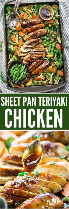 Sheet Pan Teriyaki Chicken with Vegetables is an easy meal perfect for busy weeknights. Best of all, it's made entirely in one pan with tender chicken, crispy veggies with the most flavorful sweet and tangy Asian sauce. Sheet Pan Teriyaki Chicken w Supper Recipes, Easy Dinner Recipes, Simple Recipes, Quick Recipes, Simple Vegetable Recipes, Weight Watcher Desserts, Sheet Pan Suppers, Cooking Recipes, Healthy Recipes