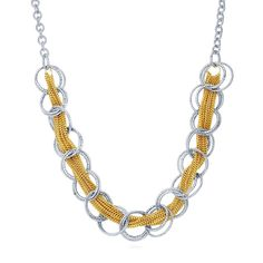 Two-Tone Open Circle Statement Necklace