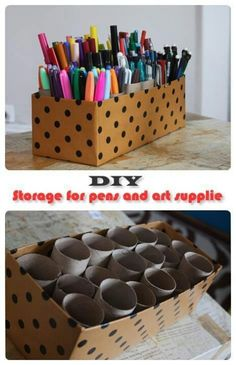 DIY organizing for crafts use a box and used toilet paper rolls